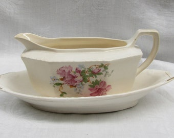 Vintage Shabby Gravy Boat/Underplate by Thompson Madison/ Pink Roses