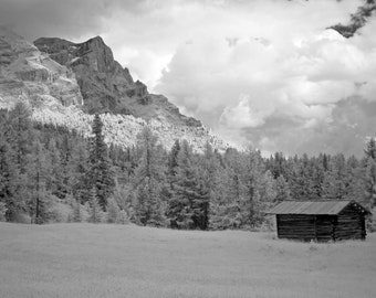 "Shepherd's hut in the Dolomite Mountains of Italy.  Black and white photo note card, 4.25""x5.5"", blank."
