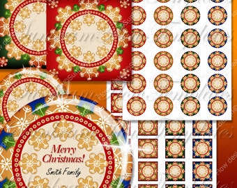 "INSTANT DOWNLOAD - 1.5"" Editable jpg Circles Squares tile Xmas 07 Merry Christmas Printable Drink Coasters Greeting cards Gift tags pyo diy"