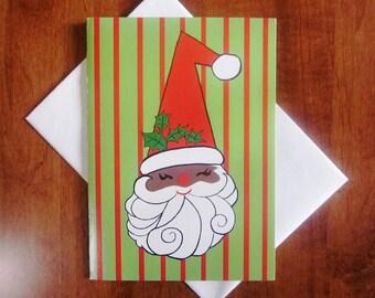 Vintage Christmas Card - African American Santa - One Unused Card with original Envelope - Cameo Greetings - Black Santa