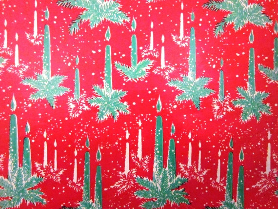 Vintage Wrapping Paper Gift Wrap - Mod Candles - 1960s - One full sheet
