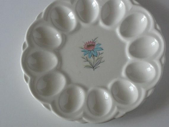 RESERVED FOR BELLYDANCE Vintage deviled egg dish 12 sections flower plate