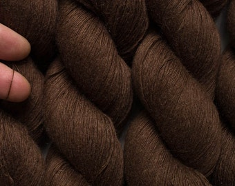 Mocha Brown Silk Cashmere Alpaca Lace Weight Recycled Yarn, 468 Yards in One Skein