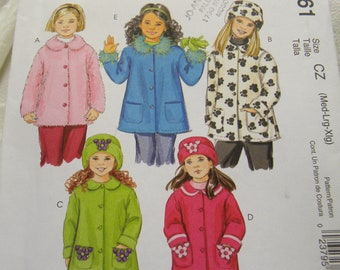 childrens girls unlined coat and hat pattern McCalls 4961 uncut pattern