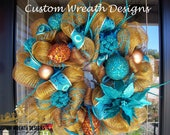 Turquoise and Brown Christmas Wreath