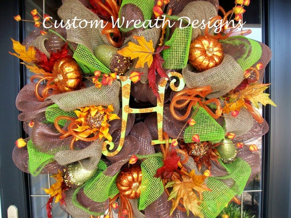 Lavish Fall Wreath with letter of choice.