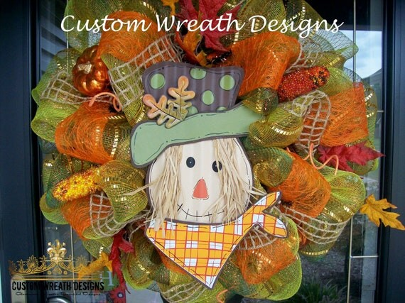 Fall Harvest Scarecrow Mesh Wreath