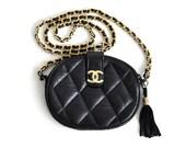 CHANEL 2.55 Black leather quilted shoulder chain purse bag tassel