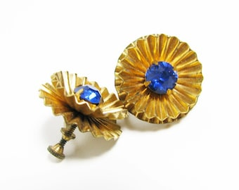 Vintage Rhinestone Earrings, Sapphire Blue / Vintage Karu Earrings, 50s - Boucles d'Oreilles.