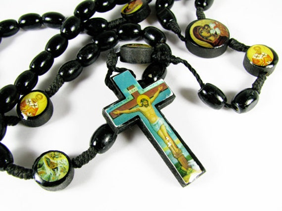 Black Vintage Wood Cross Necklace Rosary - Collier Croix.