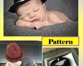 Crochet Newborn Fedora Photo Prop and Bowtie Pattern