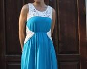 Blue and white dress, long dress, cotton jersey dress,rope details dress, dress with frill, summer dress, loose fit dress
