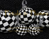 """Black & White Check Christmas Ornament with Rhinestone trim-Hand Painted- """"MADE to ORDER""""- Size 3.25"""" (Listing is for 1 Ornament)"""