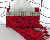 Fabric Tissue Holder:  Red and Green Ivy