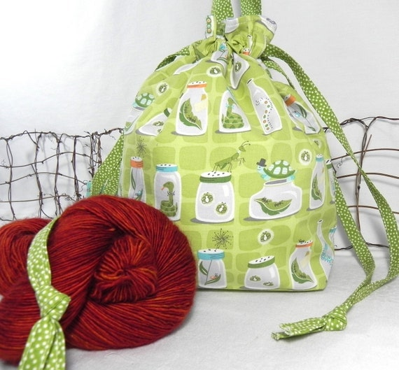 Knitting Bag: Green Project Bag with Insects, Bugs, Backyard Woodland Critters