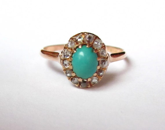 Antique Victorian Turquoise and Diamond Engagement 14K Ring