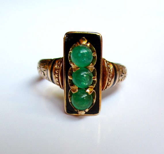 UNIQUE Antique Victorian EMERALD and Enamel 14K Rose Gold Engagement Ring