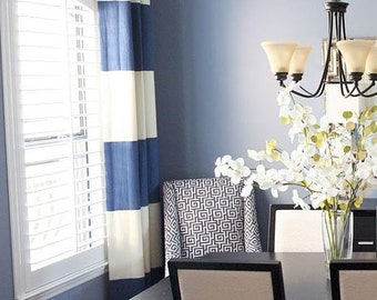 "96""L Grommeted Striped Drapery Panel - custom curtains - 28 color options"
