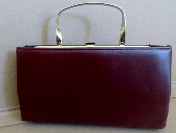 Reserve vintage Handbag/ANDE/Envelope Clutch/Evening/Burgundy/Leather Handbag