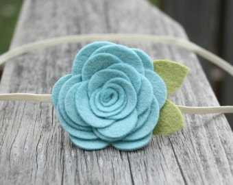 Large Felt Flower Headband for baby -Ocean blue/green headband, newborn baby flower headband infant toddler teen adult, newborn Photo Prop