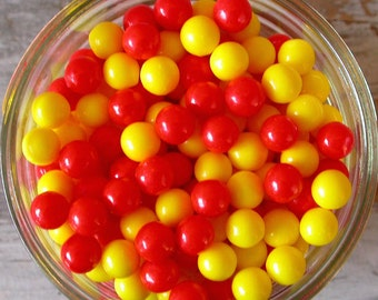 Red and Yellow Large Sugar Candy Beads - 7mm sprinkles, 2 oz. - For Cupcakes - Cookies - Cake Decorating - Ice Cream - Desserts - Edibles