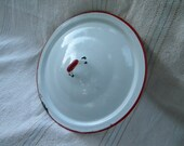 Baked Enamel Lid, Red and White