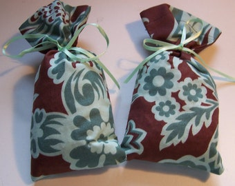 Shoe Sachets-Blue & Brown Fabric-set of 2