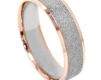 Mens Two Tone Wedding Ring 14K White & Rose Gold 6MM Brushed Band Size (7-12)