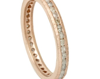 Rough Cut 1/2CT Gray Diamond Eterntiy Stackable Anniversary Ring Band 14K Rose Gold Size (4-9)