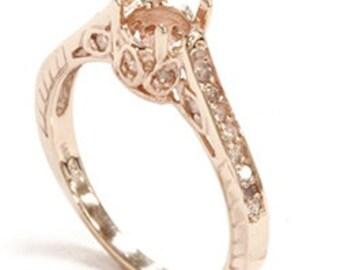 Rose Gold Ring Mount Diamond Antique Engagement Ring Setting Mounting 1/5CT Size (4-9)