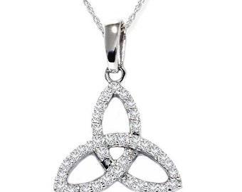 Celtic Diamond Pendant 14K White Gold 1/3CT