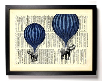 Hot Air Balloon Elephants, Home, Kitchen, Nursery, Office Decor, Wedding Gift, Eco Friendly Book Art, Vintage Dictionary Print 8 x 10 in.