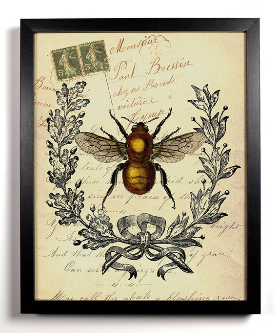 Bee Insect Antique Illustration, Home, Kitchen, Nursery, Office Decor, Wedding Gift, Housewarming Gift, Unique Holiday Gift, Wall Poster