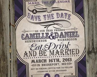 SteamPunk Vintage Retro Save The Date Wedding Announcement
