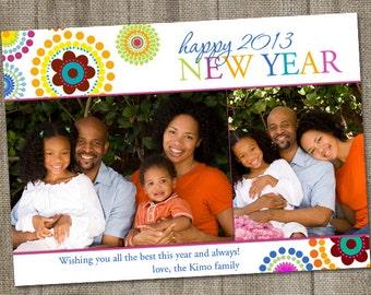 Happy New Year's Circles Printable Holiday Photo Card