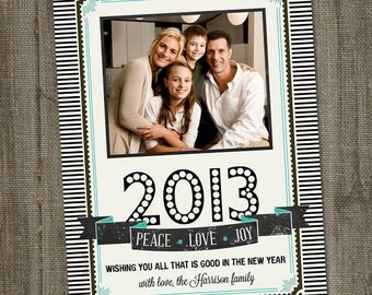 Holiday Photo Card, Retro Vintage, Happy New Year's Wishes, PRINTABLE, DIGITAL, New Years Photo card, photo card template