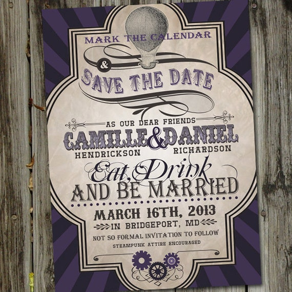SteamPunk Vintage Retro Save The Date Wedding Announcement