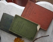 Antique Vintage Books. Collection of Three Shabby Books with Marks and Writing. Small/Medium size.
