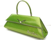 Couture Vintage Car inspired Handbag Made In USA- Bel Air Green Metal Flake