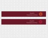 Thanksgiving Themed Mini Flags - DIY Printable, rustic, leaves, orange, yellow, red, burgundy, fall