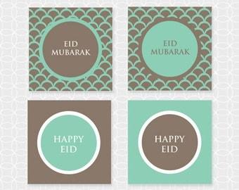 "Party Printable DIY EID Mubarak 2"" Party Circles. Squares - Instant Download"