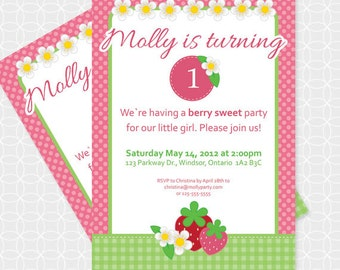 Party Printable Strawberry Theme Invitation - Personalized Printable - berries, flowers, girl, summer, fresh, picnic, birthday