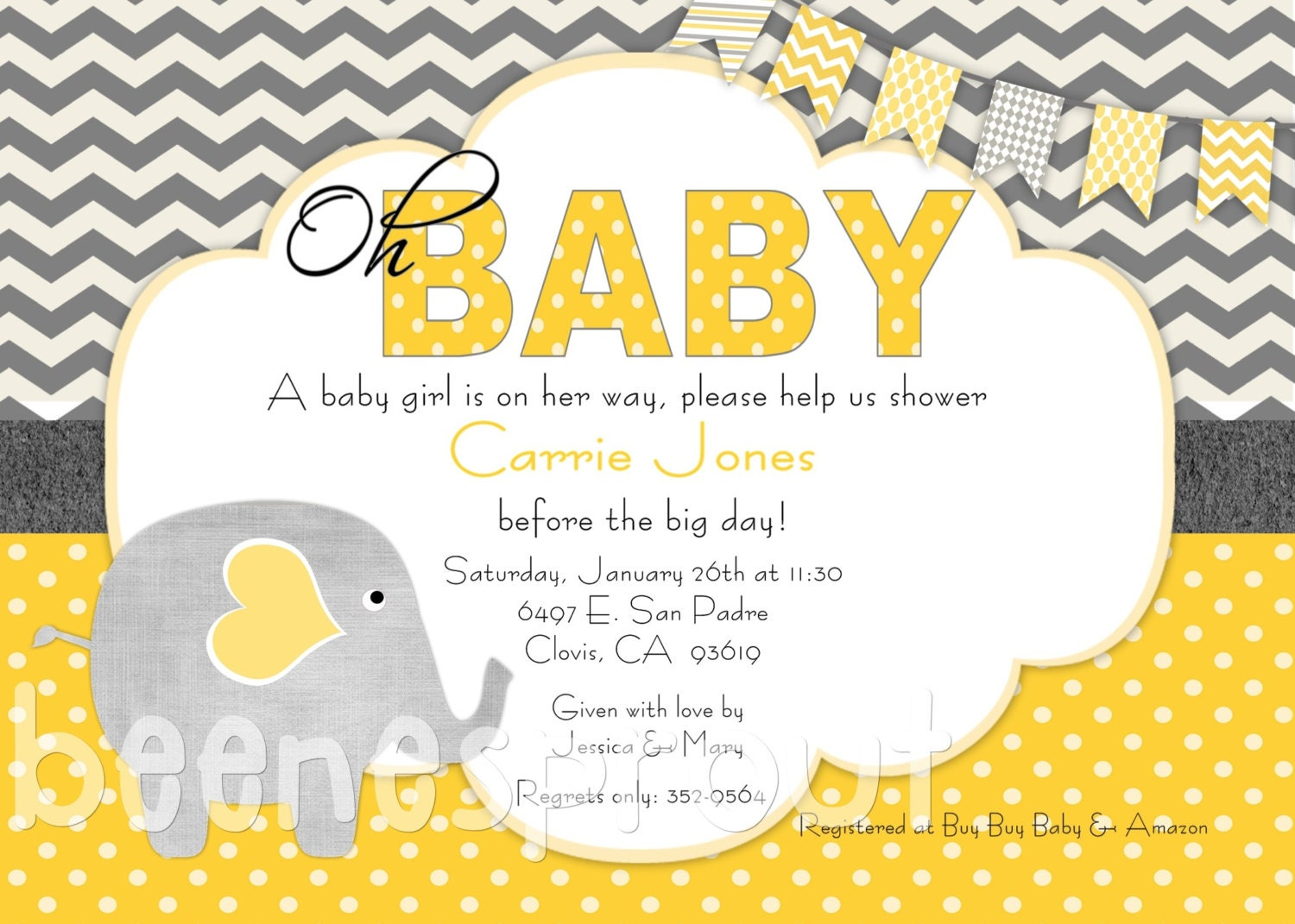 yellow and gray elephant baby shower invitation by beenesprout