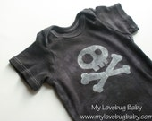 Skull and Crossbones Baby Onesie - Hand Dyed & Painted