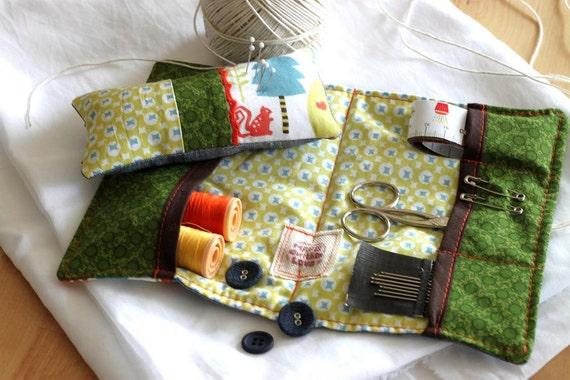Sewing kit, pin cushion, travel sewing kit, embroidery kit. Zakka style. Gorgeous blue linen, Monaluna print fabric inside. Ready to ship.