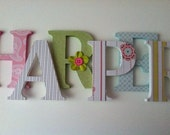 Wooden  letters for nursery in pink, white, green , blue, yellow