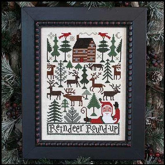 Reindeer Roundup Book No. 182 : Prairie Schooler cross stitch patterns Christmas Santa Claus December Winter holidays hand embroidery