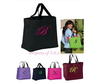 Bridesmaid Tote Personalized Embroidery Gift Cheer Dance Monogrammed Green Embroidered Baby Wedding 20 Colors