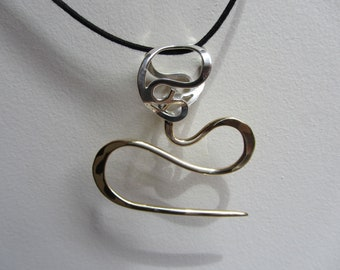 Puffed Heart Cable Needle Necklace