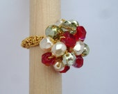 Christmas Crochet Cocktail Ring (gold band)